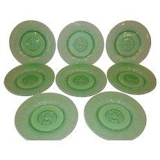 Eight Art Nouveau Reijmyre Sweden Roaring Lion Moulded Green Plates