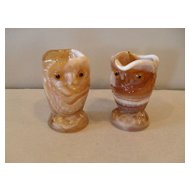 Imperial Glass Caramel Glass Owl Creamer and Sugar