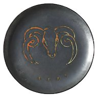 Mid Century Modern MCM Sauveur Lunetta Vallauris Black Ram's Head Plate