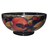Exquisite Antique William Moorcroft Pomegranate and Berry Cobalt Bowl