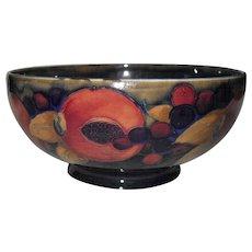 Exquisite Antique William Moorcroft Pomegranate and Berry Cobalt Bowl
