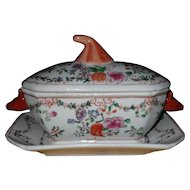 Antique Chinese Export Tureen with Boar's Head Handles and Undertray