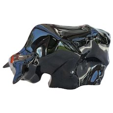 Baccarat Black Crystal Bull Trader Market Figurine Paperweight
