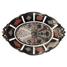 Antique Royal Crown Derby Imari 8706 Acorn Oak Leaf 1128 Serving Dish Platter 1912