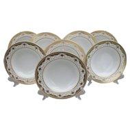 Eight Antique Mintons Gold Encrusted Rim Soup Bowls G7962 1891-1902