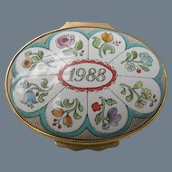 Halcyon Days Enamel 1988 A Year to Remember Floral Pill Box