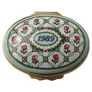 Halcyon Days Enamel 1989 A Year to Remember Floral Pill Box