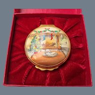 Beautiful Cartier Christmas Tree Hearth Fire White Dog Enamel Pill Box 1980 with Original Box
