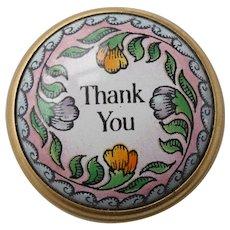 Halcyon Days Enamel 'Thank you' Snuff Pill Box