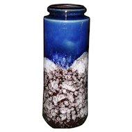 Vintage Scheurich Keramik 1970's Fat Lava Thick Glaze Cobalt Vase 206-26