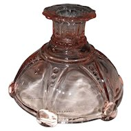 Anchor Hocking Pink Depression Glass Oyster and Pearl Candleholder