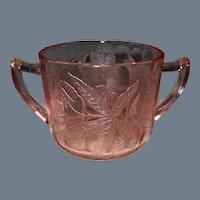 Jeannette Pink Depression Glass Floral/Poinsettia Sugar Bowl