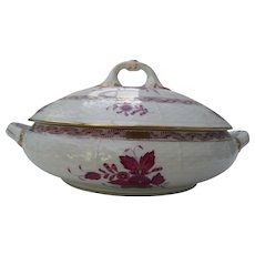 Herend Porcelain Raspberry Chinese Bouquet Basketweave Apponyi Tureen AP84
