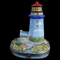 Vintage Jacques HP Limoges Lighthouse Enamel Pill Box 103/500