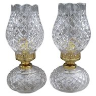 Pair of Exquisite Brilliant Heirloom Waterford Crystal Tulip Hurricane Lamps
