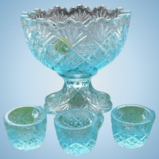 Vintage Westmoreland Glass Doll Children's Punch Bowl and Cups