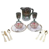 American Girl AG Pressed Glass Lemonade Dessert Plates Cutlery Set