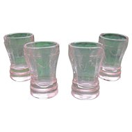 American Girl AG Set of Four Pink Depression Glass Tumblers