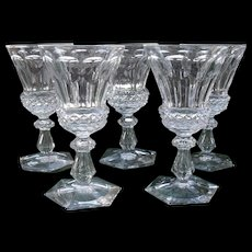 Set of Five 19th Century Port Wine Glasses