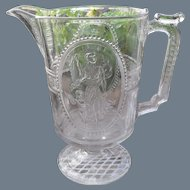 EAPG Richards & Hartley Pattern Glass Venus & Cupid Large Pitcher