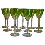 Beautiful Sleek Set of 11 Vintage Baccarat Genova Chartreuse Green Wine Glasses