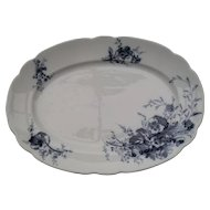"""Antique Dark Blue and White Hancock & Son Staffordshire Pansy Meat Platter 16"""""""