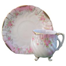 Lefton Heirloom Rose Demitasse Cup and Saucer 3 Footed Cup