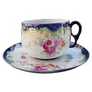 Vintage Royal Nippon Pink Roses Cobalt Gold Teacup and Saucer