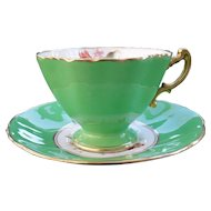 Gorgeous Hammersley Floral Green Gold/Gilt Teacup/Saucer Signed F.Howard Batwing Handle