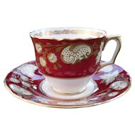 Crown Staffordshire Burgundy Paisley and Gold Teacup and Saucer