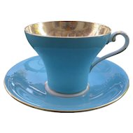 Vintage Aynsley Corset Shape Turquoise Heavy Gold Teacup and Saucer