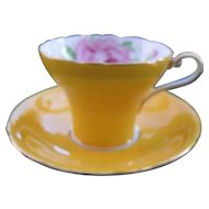 Vintage Aynsley Yellow with Pink Large Cabbage Rose Corset Teacup and Saucer
