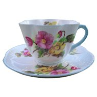 Vintage Shelley Begonia Teacup and Saucer