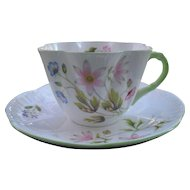 Vintage Shelley Ludlow Pink Clematis Teacup and Saucer Green Handle