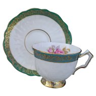 Vintage Aynsley Crocus Green Rose Gold Teacup and Saucer
