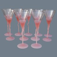 Set of 11 Pink Frosted Bohemian Martini Glasses