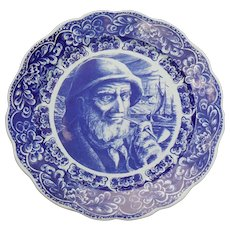 Vintage Delft Boch Freres La Louviere Belgium Sailor with Pipe Charger 15 1/4""