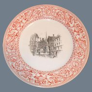 """Antique Mintons Florentine Red Buildings in Center Plate 10"""" Urns/Griffons 1862"""