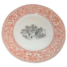"""Antique Mintons Florentine Red Church in Village in Center Plate 10"""" Urns/Griffons 1862"""