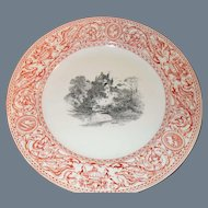 """Antique Mintons Florentine Red Castle in Center Plate 10"""" Urns/Griffons 1862"""