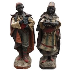Outstanding Pair S & H Deponirt Blackamoor Statues Man and Woman 17th C