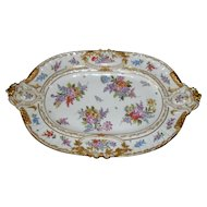 "Handpainted German Gold Encrusted Large 20"" Floral Decorated Tray"