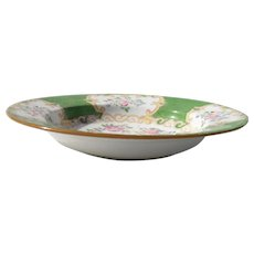 Mintons Green Cockatrice Rimmed Soup Bowl Globe Backstamp 4863