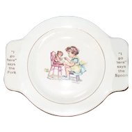 Vintage My Own Plate Homer Laughlin Little Girl Feeding Bear Training Bowl