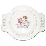 Vintage My Own Plate Homer Laughlin Little Girl Feeding Bear Training Bowl
