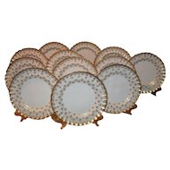Elegant Spode Set of 12 Gold Encrusted Fleur de Lys Scalloped Dinner Plates