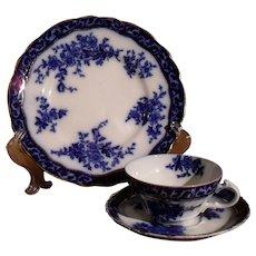 Antique Flow Blue Touraine Pattern Teacup Saucer Plate Trio