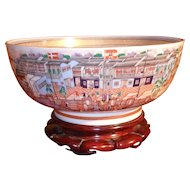 Mottahedeh Winterthur Chinese Export Porcelain Hong Kong Punch Bowl on Stand
