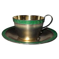 Antique Sterling Silver Gold Washed Shreve & Co Demitasse Cup and Saucer 1900