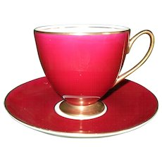 Vintage Shelley Burgundy and Gold Footed Carlisle Shape Teacup and Saucer